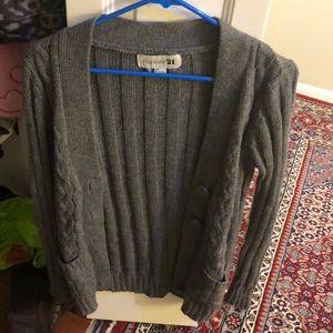 *5 for $10* gray warm cardigan sweater f21 cute